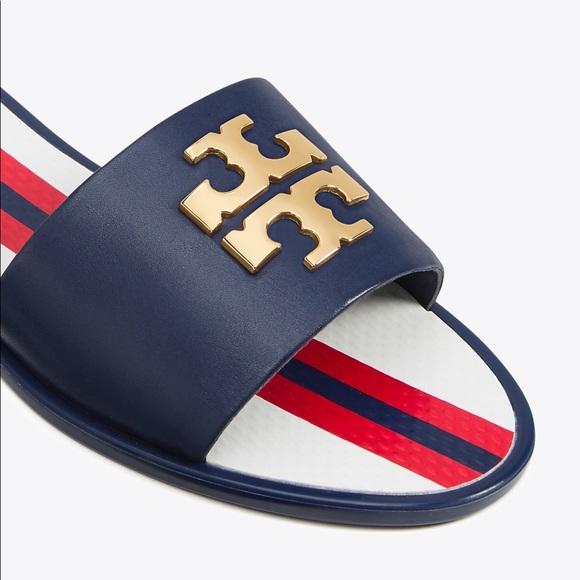 da0a444ee6aa9e New Tory Burch Logo Jelly Slides Navy Sea 8. M 5b58e5d08869f737b98a2de3